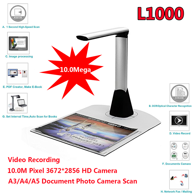 US $100 48 |Free shipping!L1000 HD A3 A4 A5 10Mega 3672*2856 Document Book  Photo ID Scanner Camera USB A3 Document Scanner Camscanner-in Scanners from