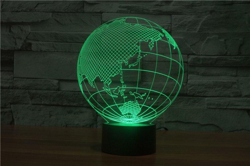 Wereldbol Met Licht : Verbazingwekkende 3d illusie geleide tafellamp nacht licht met azië