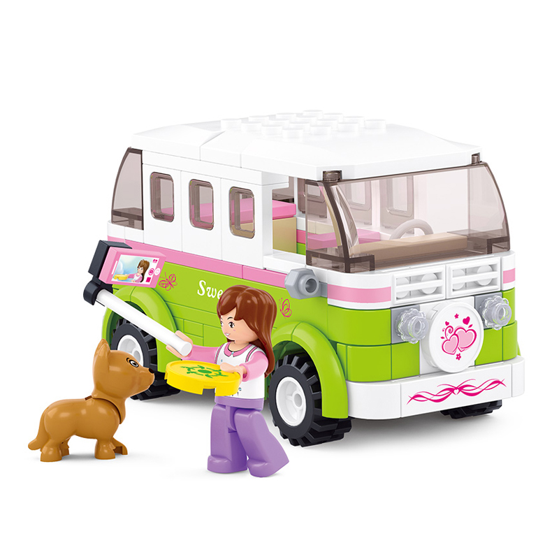 0523 SLUBAN Girl Friends Station Wagon Model Building Blocks Travel Car Enlighten DIY Figure Toys For Children Compatible Legoe sluban pink dream sweet drink house educational toys for children building blocks plastic enlighten diy bricks legoe compatible