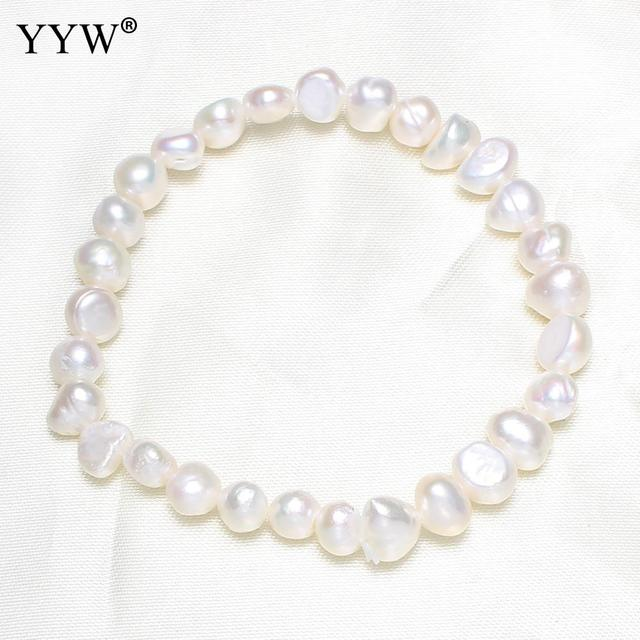 YYW 7-8mm White Baroque Pearl Beads Charm Bracelet for Women Freshwater Cultured