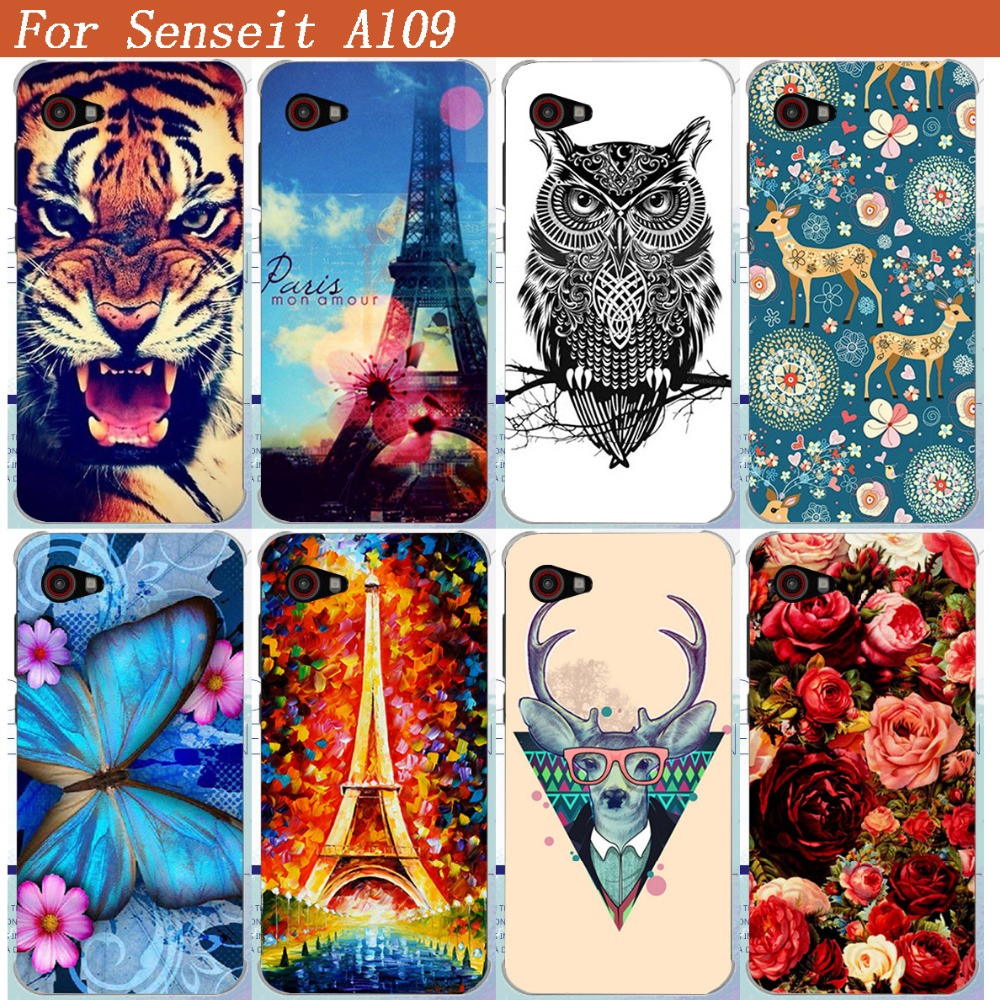 Senseit A109 Case Cover Luxury Cool Pattern Colored Tiger Owl Rose Eiffel Tower Soft Tpu ...