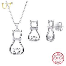 U7 925 Sterling Silver Cat Necklace And Stud Earrings Set Animal CZ Cute kawaii Birthday Wedding Jewelry Mother's Day Gifts SC86(China)