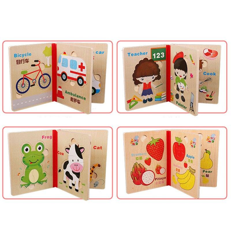 6 sidor trä pussel bok trä material djur frukt 3d pussel leksaker - Spel och pussel - Foto 5