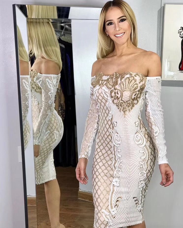 High Quality White Nude Long Sleeve Feather Bodycon Dress