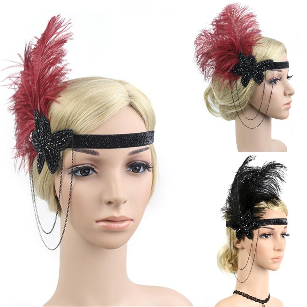1920s Headpiece Feather Flapper Headband Great Gatsby Headdress Vintage     9.7 headpiece