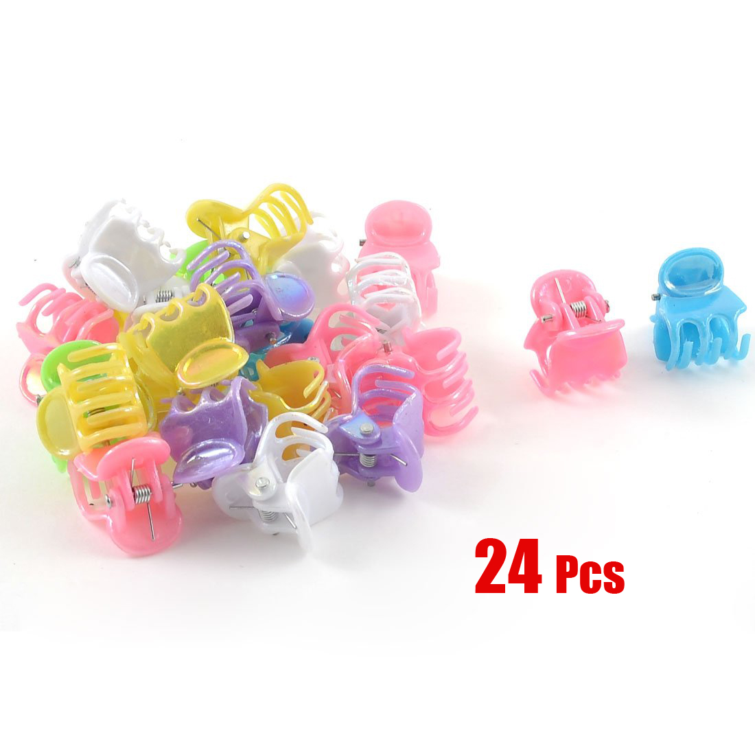 2017 NEW New 24 Pcs Practical Assorted Color Plastic Mini Hair Clip Claw for Ladies