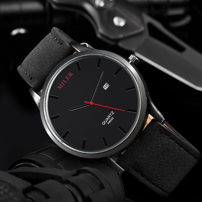 все цены на Men's Watch 2018 MILER Top Brand Luxury Sport Watch Men Watch Leather Strap Fashion Watches Clock kol saati relogio masculino онлайн