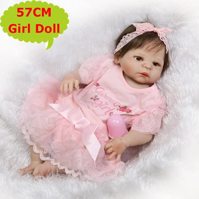 57CM NPK Full Body Silicone Bebe Reborn Girl Doll Lifelike Newborn Menina Toys In Sweet Pink