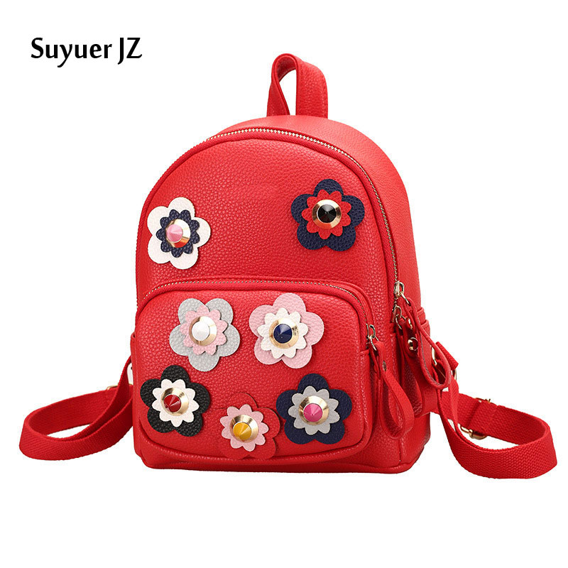 2017 Fashion PU Leather Backpack Flower Women Bags Preppy Style Backpack Girls School Bags Zipper Shoulder Women's Back Pack маска сварщика quattro elementi omega 649 639