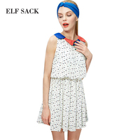ELF SACK Fashion Brand New Summer Female Slim Waist Color Block Petals Collar Print One Piece