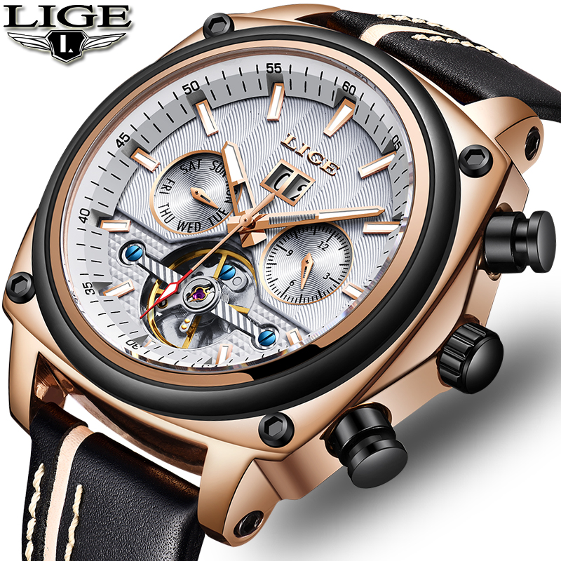 LIGE 2019 Nova flagship Mens Relógios Homens Grande Mostrador do Relógio Mecânico Negócio Relógio À Prova D' Água Esporte Relogio masculino + Caixa