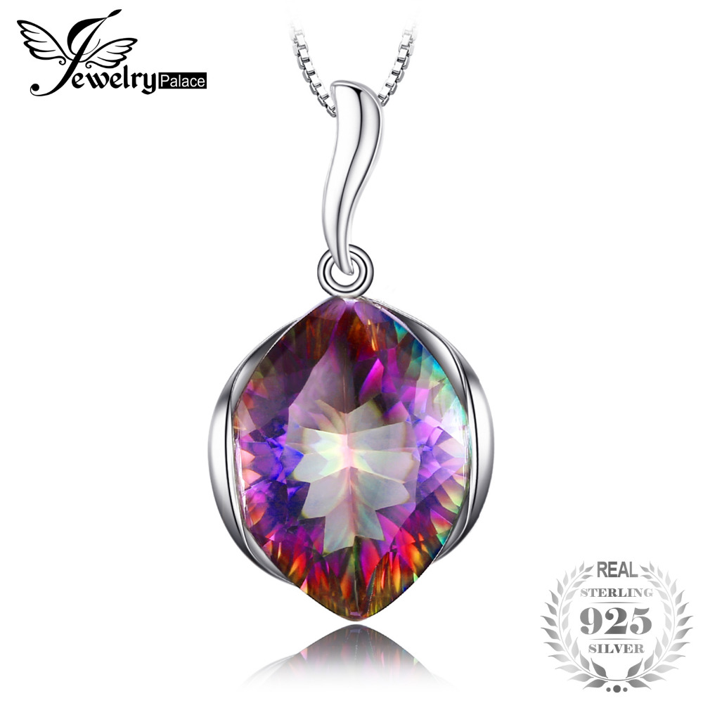 JewelryPalace Vintage Huge 11ct Rainbow Fire Mystic Topaz Solid 925 Sterling Silver Pendant Necklaces For Women Without ChainJewelryPalace Vintage Huge 11ct Rainbow Fire Mystic Topaz Solid 925 Sterling Silver Pendant Necklaces For Women Without Chain
