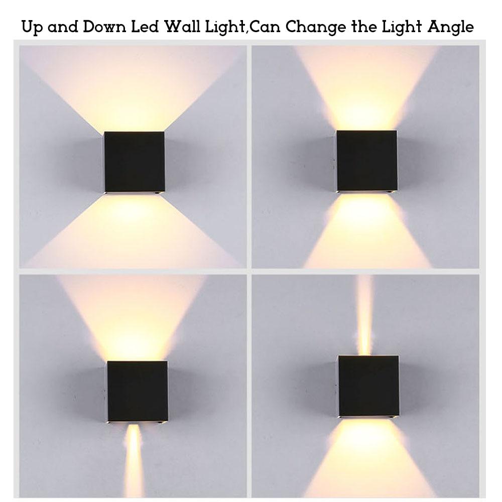 Étanche 6 W intérieur extérieur Led Mur Lampe moderne En Aluminium Réglable Surface Monté Cube Led Jardin Porche Lumière