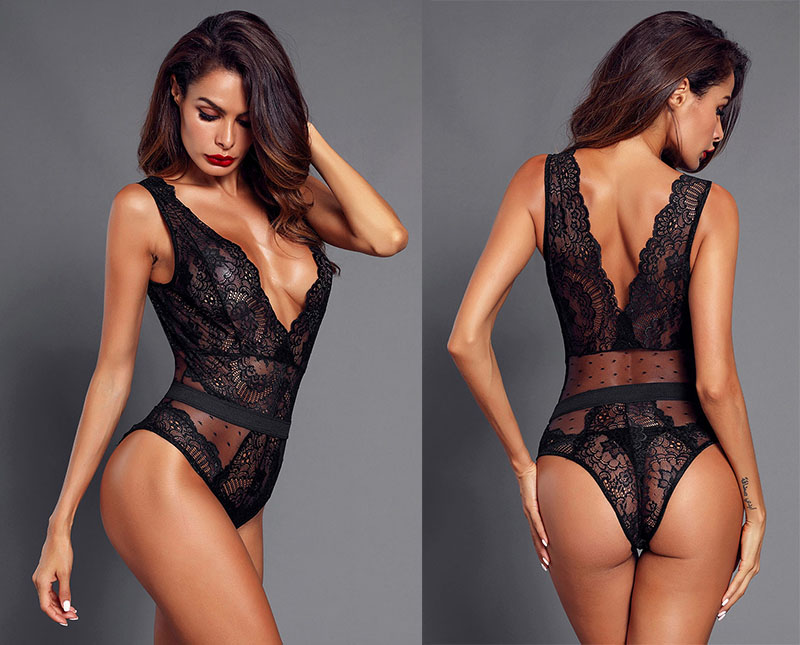 Black-Scalloped-Deep-V-Neck-Lace-Bodysuit-LC32226-2-8