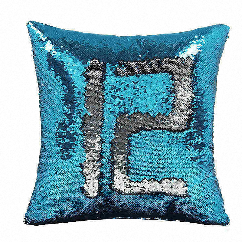 DIY Mermaid Sequins Cushion Cover Magical Colorful Throw Pillow Case 40*40cm Two Color Changing Reversible Cojin Almofadas Funda