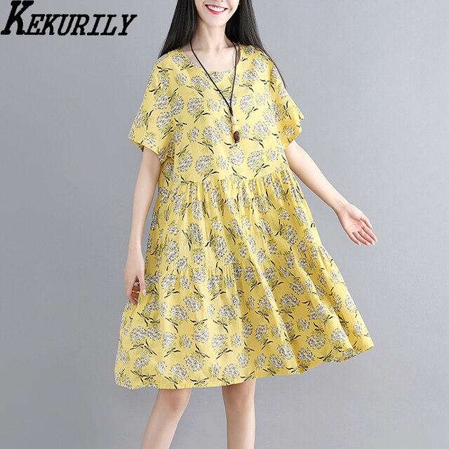 4538074601b Yellow t shirt dress women cotton linen summer designer dresses runway 2018  large robe print floral short sleeve white clothes