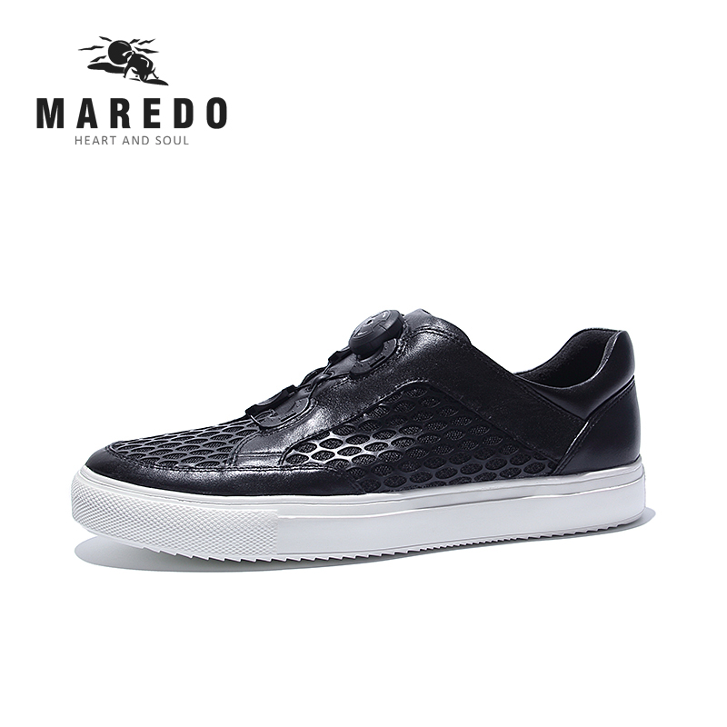 MAREDO casual shoes men loafers shoes BOA Lacing Boot System Breathable genuine leather casual shoes men loafers shoes needbo brand handsome comfortable top quality men casual shoes genuine leather fashion breathable shoes men