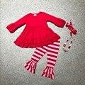 Новорожденных девочек одежда девушки V-day наряды дети топ красный с полосой брюки одежда Валентина день пати костюмы с аксессуары