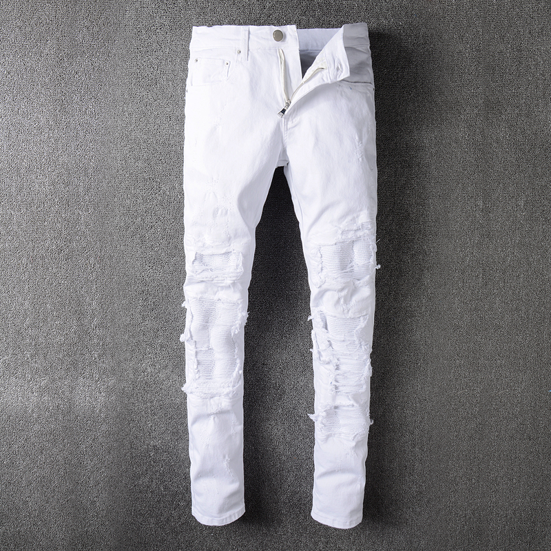 2017 New France Style #507# Mens Distressed Embellished Ribbed Stretch Moto Pants Biker white Jeans Slim Trousers Size 28-42