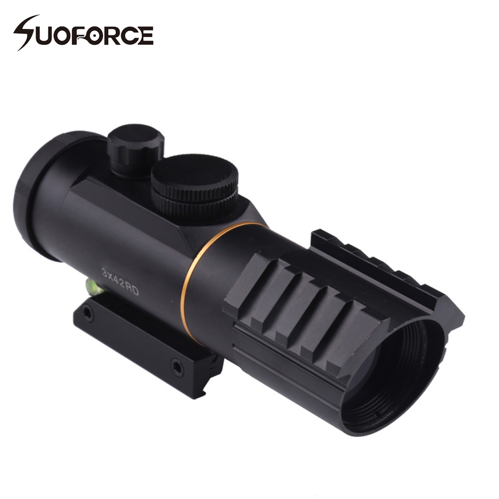 Tactical 3X42 Red Dot Sight Scope with Spirit Bubble Level Fit Picatinny Rail Mount 11mm or 20mm Riflescope Hunting Shooting tactical optics riflescope 4x42 red green dot sight scope fit picatinny rail mount 20mm hunting rifle scopes
