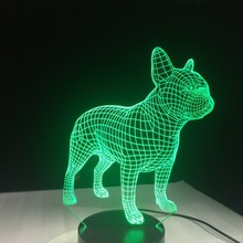 3D Vision Cute French Bulldog 3D Table Lamp LED Night Light 7 Colors Change For Kids Gifts Touch Kids Bedside Sleep Lighting