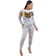 Sequined Patchwork 2 Pieces Set O-neck Long Sleeve Top Pants Sexy Slim Tracksuit Two Sporting Wear Outfit