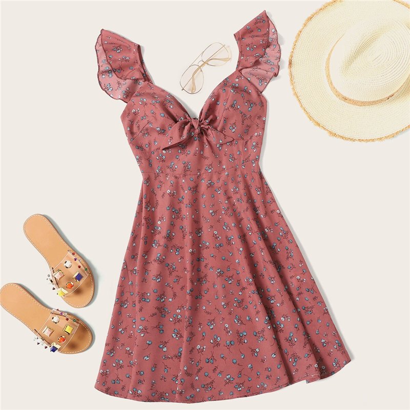Plus Size Ruffle Trim Knot Front Ditsy Floral Dress