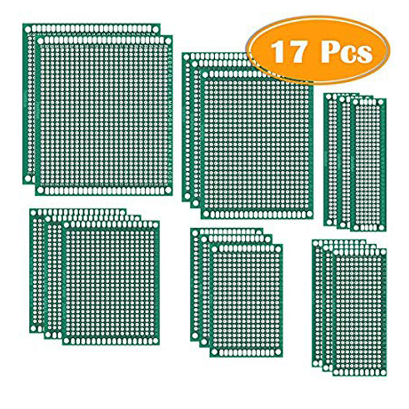 Universal Printed 50 Pcs Double Sided PCB Board Prototype Kit Soldering 5 Sizes