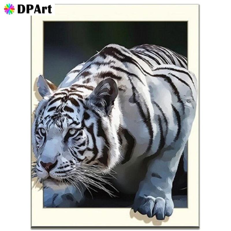 Pintura diamante 5D Completo Quadrado/Rodada Broca Tigre Branco Daimond Strass Pintura Bordado Ponto Cruz Imagem Mosaico M671