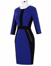 Women Dress Robe Women's 3/4 Sleeve Optical Illusion Bodycon Pencil Business Dress Cotton Blue Dress Jurken Slim Office Dress