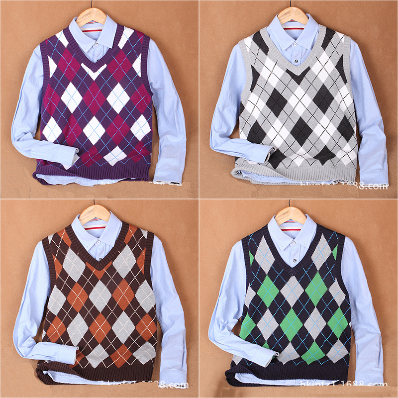 Argyle Pattern Design V Neck Male Knitted Waistcoat Men Sleeveless Sweater Vest Purple Green Brown Yellow Brown