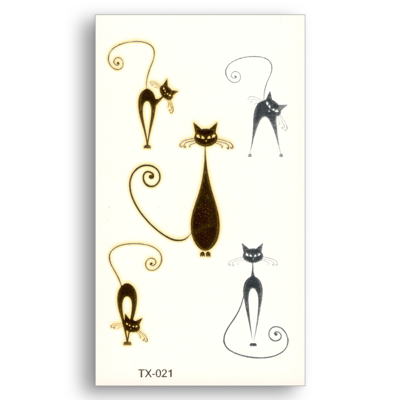 Cute Cat Temporary Fake Tattoo Metallic Gold Sliver Waterproof Cartoon Pattern Stickers Water Transfer Glitter Body Art