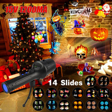 цена 14 Slides Christmas Projector Laser Lights Flash Light Lamp For Birthday Party Holiday Xmas New Year Decoration with 18650 онлайн в 2017 году