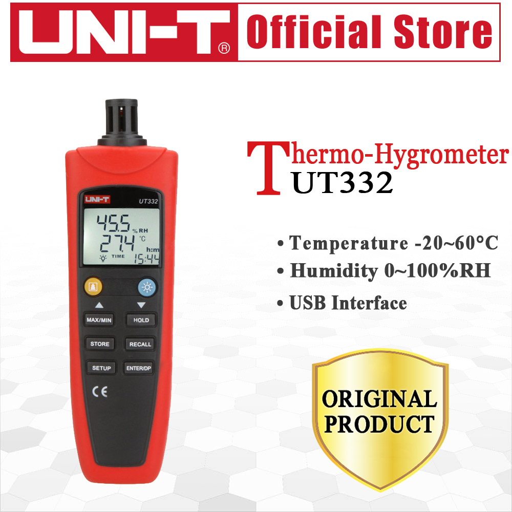 UNI-T UT332 Digital Thermo-Hygrometer Temperature Humidity Unit Selection USB Power Save Made Industrial hygrometer thermometer portable digital uni t ut332 thermometer usb data transfer humidity