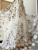 One yard 3D Beautiful flroal embroidered tulle lace fabric, nude tulle lace fabric with Hydrangea florals 130cm wide