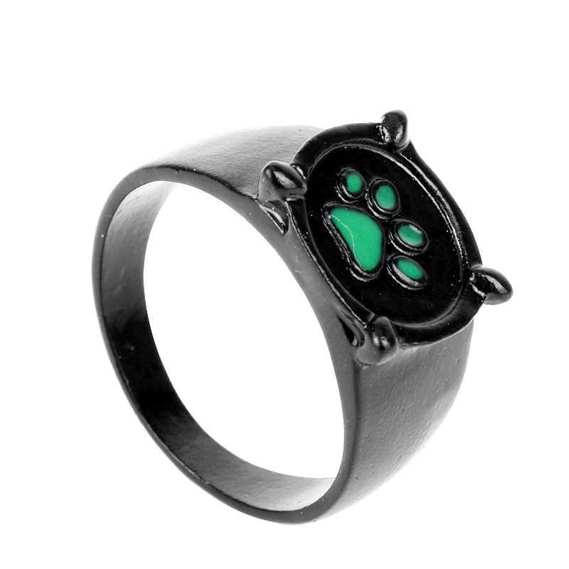 אופנה תכשיטי פרת משה רבנו חתול נואר קריקטורה נואר ירוק Pawprint טבעת גברים ונשים תכשיטי חג המולד מתנה