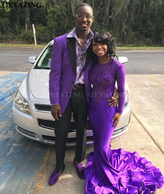 5578787ee Elegant Long Sleeves Plus Size Mermaid Purple Prom Dress with Train Sheer  Lace Appliques Beaded Black