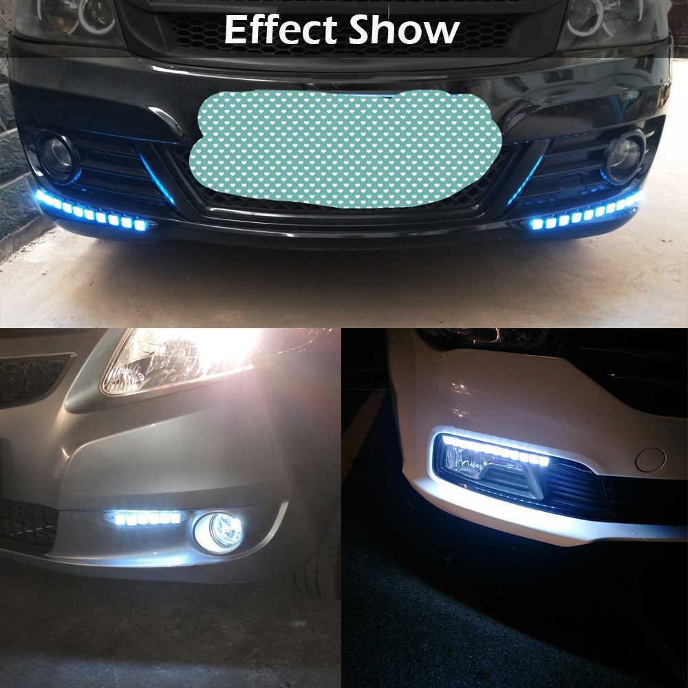 Cawanerl Car Daytime Running Light DRL Auto Flexible LED Strip Driving Light Car Styling Daylight Fog Lamp 12V White Ice Blue