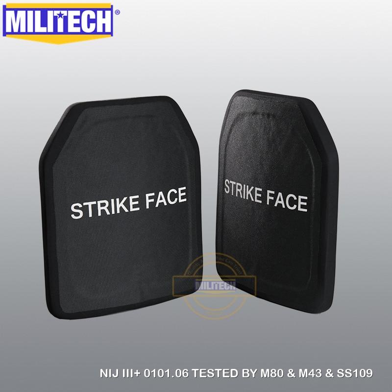 MILITECH SIC & PE NIJ III + 방탄 플레이트 NIJ 레벨 3+ 독립형 탄도 패널 NIJ lvl 3 AK47 및 SS109 및 M80 SAPI 플레이트