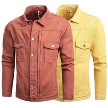 Spring Autumn Fashion Classical Men Jacket Orange Yellow Designer Ripped Denim Casual Coat Streetwear Hip Hop Jackets