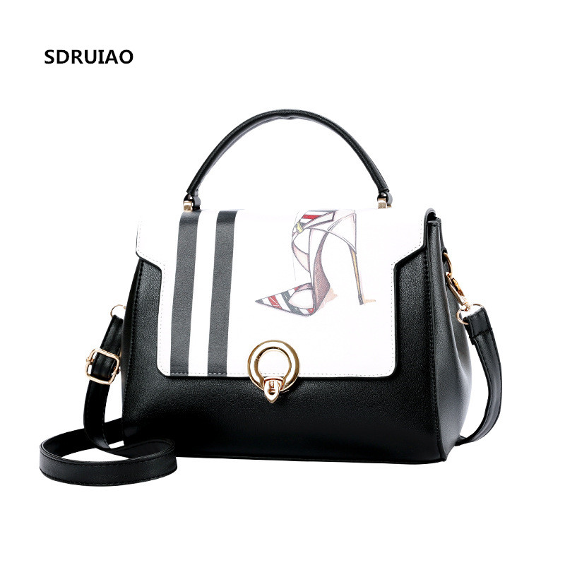 Новинка 2017 года печатных туфли на высоком каблуке Сумки Мода моды сумка женщина высокое качество PU кожаная сумка