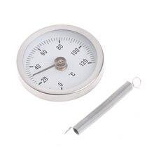 63 мм циферблат нержавеющая сталь клип-на пружинной трубке температура биметаллический термомет испытательный манометр поверхности трубы термометр 0-120 градусов