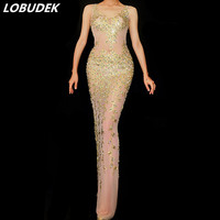 Sexy Perspective Gold Rhinestones Long Dress Women Prom Birthday Evening Party Mesh See through Dress Bar Singer Stage Costume