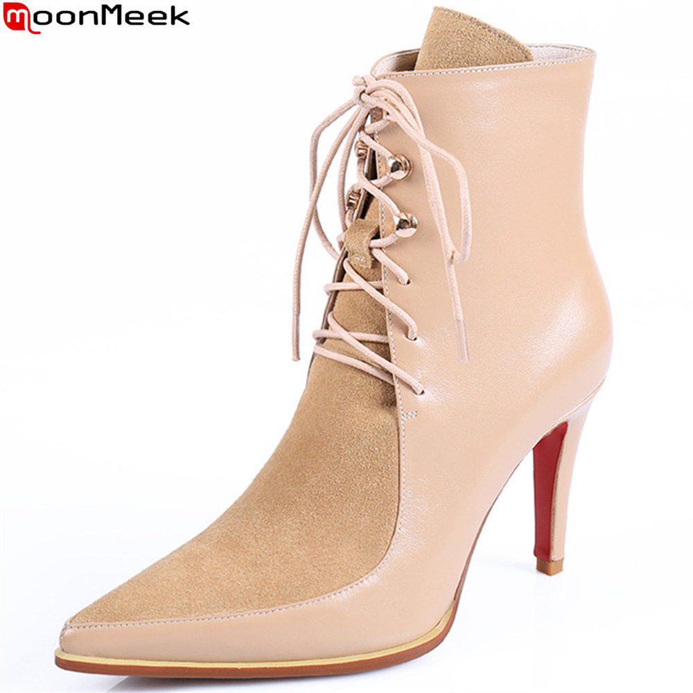MoonMeek fashion autumn winter new  arrive  women boots genuine leather boots pointed toe lace up cow leather ankle boots
