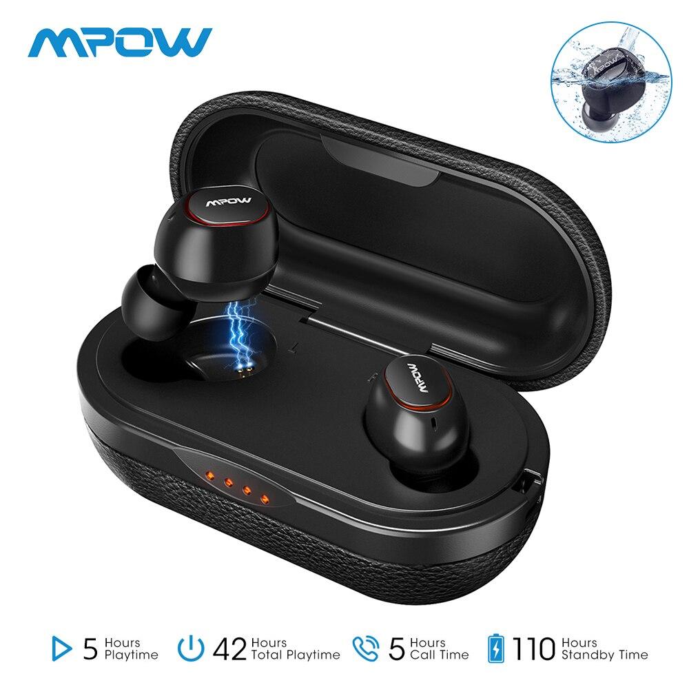 Mpow T5 IPX7 sans fil TWS écouteurs APTX Bluetooth 5.0 écouteurs 36H jouant 3D stéréo CVC8.0 écouteurs antibruit avec micro