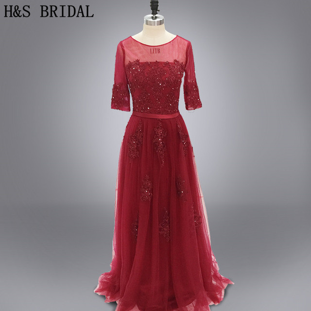 e51d537bd58 Real photo Round neck long sleeved prom dress wine red tulle lace appliques  long sleeves evening dress