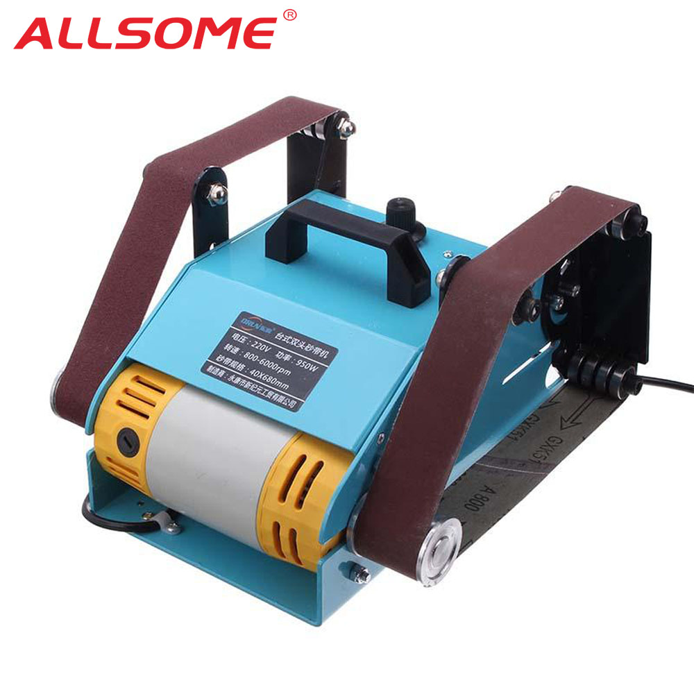 ALLSOME 950W 220V Multi-function Sander Desktop Double Axis Belt Sanding Grinding Machine HT2423