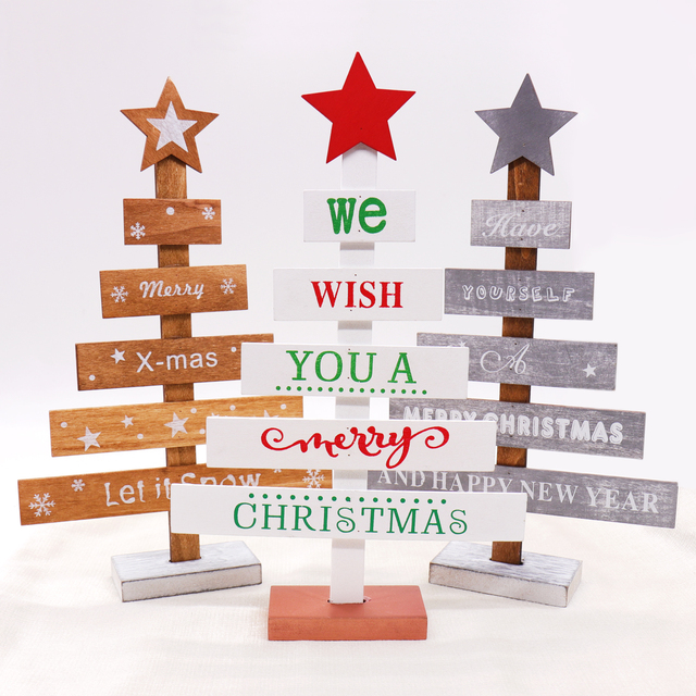 Christmas Wood Table Decorations Nordic Style Tree Shape Wood Table