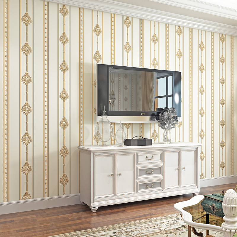 European Style Luxury 3D Vertical Stripe Wallpaper Living Room TV Sofa Bedroom Non-Woven Wall Paper For Walls 3 D Modern TapetyEuropean Style Luxury 3D Vertical Stripe Wallpaper Living Room TV Sofa Bedroom Non-Woven Wall Paper For Walls 3 D Modern Tapety