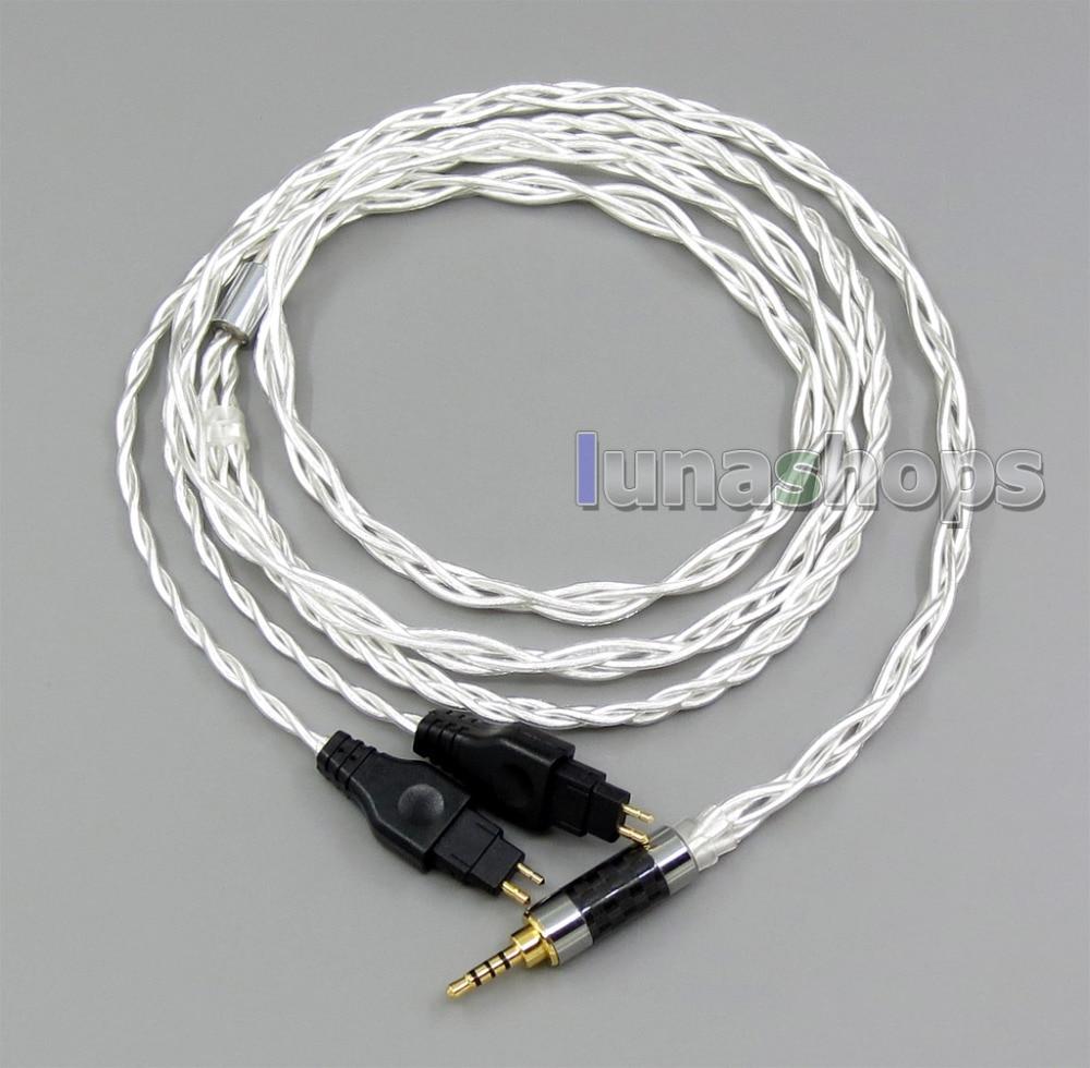 2.5mm 3.5mm 4.4mm 4 Cores Pure Silver Shielding Headphone Cable For Sennheiser HD25-1 SP HD650 HD600 HD580 HD525 LN006079 120cm pure pcocc earphone cable pep insulated for sennheiser hd25 1 sp hd650 hd600 hd580 hd525 hd565 headphone ln004887